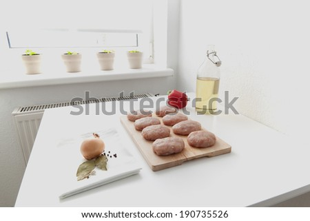 Manufacturing process meatballs in the home kitchen - stock photo