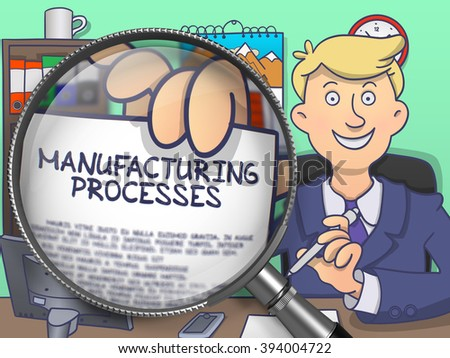 Manufacturing Processes. Cheerful Businessman Welcomes in Office and Showing Concept on Paper through Magnifier. Multicolor Modern Line Illustration in Doodle Style. - stock photo