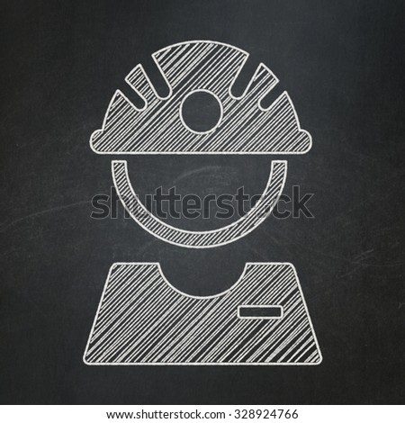 Manufacuring concept: Factory Worker icon on Black chalkboard background - stock photo