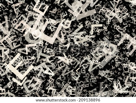 many abstract chaotic grey alphabet letters - stock photo