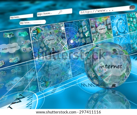 Many abstract images on the theme of computers, Internet and high technology. - stock photo