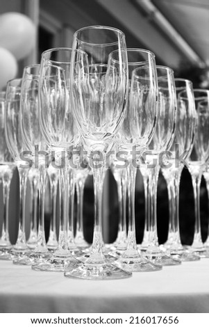 many abstract wine glasses in black and white  - stock photo