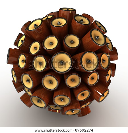 Many abstract wood classic speakers in form of sphere isolated on white background. 3d Illustration. Close-up - stock photo