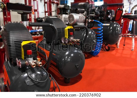 Many Air compressors pressure pumps  closeup photo - stock photo