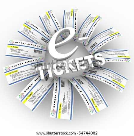 Many airline e-Tickets arranged around the words - stock photo