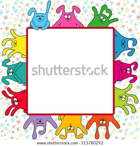 Many amusing rabbits holding a big advertising banner, illustration on the color seamless starry background - stock photo