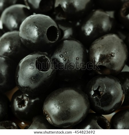 many appetizer black greek olive - stock photo