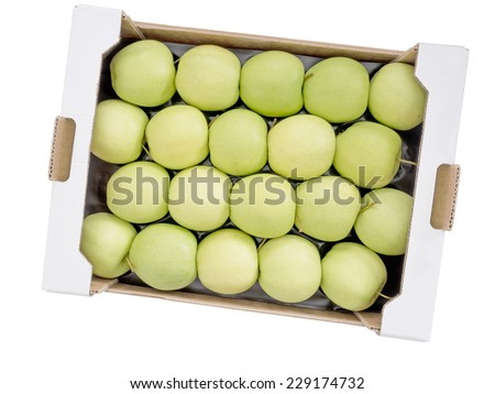 Many apples. Bulk buy, wholesale Golden Delicious. Isolated. - stock photo
