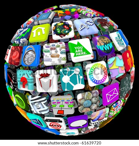 Many application tiles in a spherical pattern, representing a world of available apps - stock photo