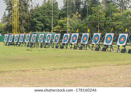 Many archery targets - stock photo