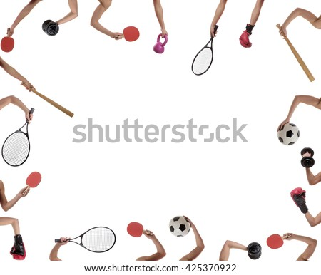 many arms of a young woman holding sport items  - stock photo