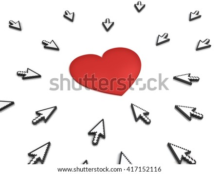Many arrow cursors mouse clicking red heart button or link isolated on white background with reflection. 3D rendering. - stock photo