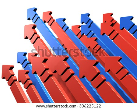 Many arrows are growing. This represents the competition. - stock photo
