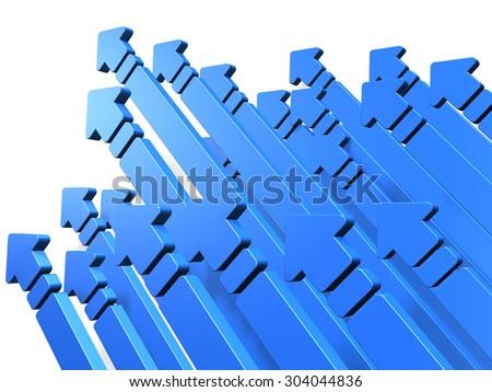 Many arrows rush skyward. It represents a challenge. - stock photo
