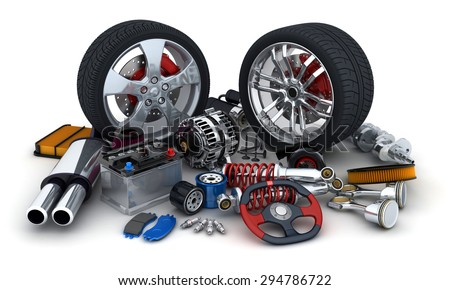 Many auto parts on white background (done in 3d) - stock photo