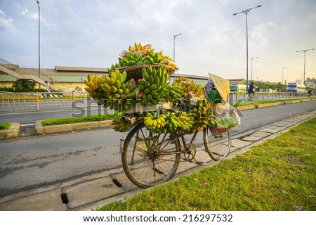 many banana and conical in bicycle on road  - stock photo