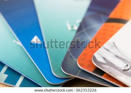 Many bank cards - stock photo