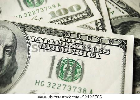 many banknotes of hundreds dollars - stock photo