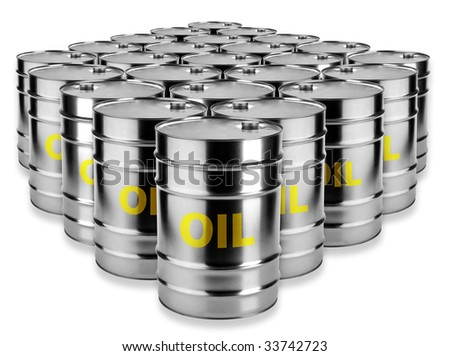 many barrels of oil on a white background