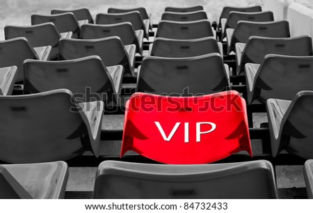 many black and red vip seat in football stadium - stock photo