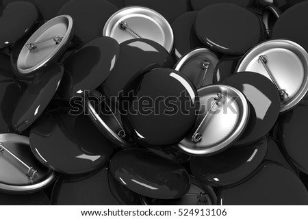 Many black blank button badges mockup, 3d rendering. Stack of plastic shiny pins mock up.