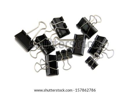 many black clips on white background