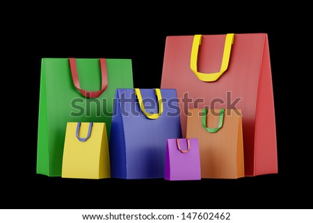 many blank color shopping bags isolated on black background - stock photo