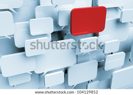 Many blank speech bubbles forming a cloud with one red bubble symbolizing an important message - stock photo