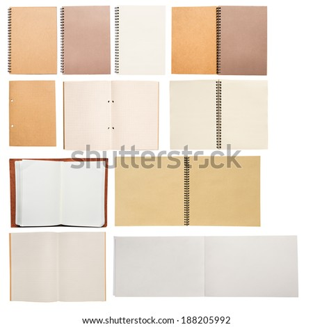 Many blanks book open and close. Sketchbook, notebook, drawing book, memo book and vintage book. On white background. - stock photo