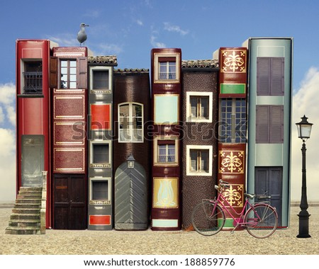Many books with windows doors lamps in a external background with blue light sky - stock photo