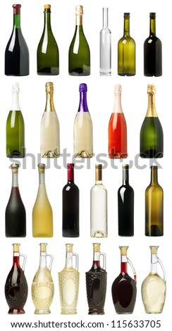 Many Bottles of Wine with White Background
