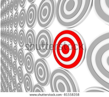 Many bulls-eye targets in rows and one in red representing a niche market in a crowded marketplace of demographics and customers.  Pinpoint the right audience for your marketing message. - stock photo