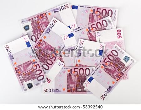 Many  bundle of 500 Euro bank notes - stock photo