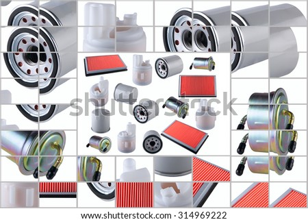 Many car filters isolated on White Background. Automobile spare parts - stock photo