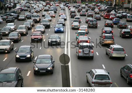 many cars on road - stock photo