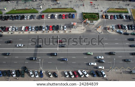 many cars on road, aerial view - stock photo