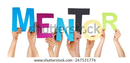 Many Caucasian People And Hands Holding Colorful  Letters Or Characters Building The Isolated English Word Mentor On White Background - stock photo