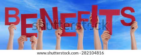 Many Caucasian People And Hands Holding Red Letters Or Characters Building The English Word Benefits On Blue Sky - stock photo