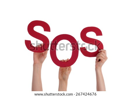 Many Caucasian People And Hands Holding Red Letters Or Characters Building The Isolated English Word Sos On White Background - stock photo