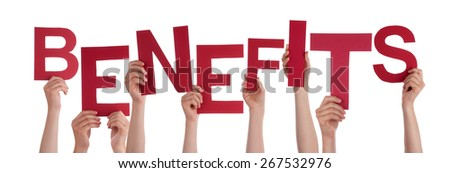 Many Caucasian People And Hands Holding Red Letters Or Characters Building The Isolated English Word Benefits On White Background - stock photo