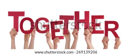 Many Caucasian People And Hands Holding Red Letters Or Characters Building The Isolated English Word Together On White Background - stock photo