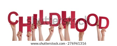 Many Caucasian People And Hands Holding Red Letters Or Characters Building The Isolated English Word Childhood On White Background - stock photo