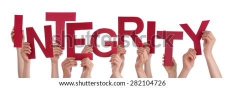 Many Caucasian People And Hands Holding Red Letters Or Characters Building The Isolated English Word Integrity On White Background - stock photo
