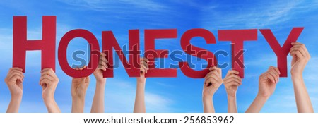 Many Caucasian People And Hands Holding Red Straight Letters Or Characters Building The English Word Honesty On Blue Sky - stock photo