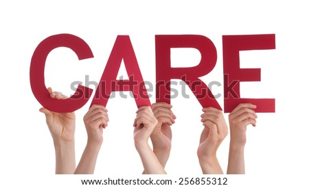 Many Caucasian People And Hands Holding Red Straight Letters Or Characters Building The Isolated English Word Care On White Background - stock photo