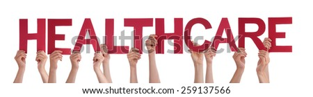 Many Caucasian People And Hands Holding Red Straight Letters Or Characters Building The Isolated English Word Healthcare On White Background - stock photo