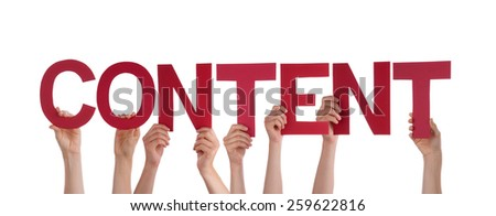 Many Caucasian People And Hands Holding Red Straight Letters Or Characters Building The Isolated English Word Content On White Background - stock photo