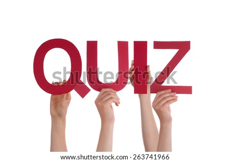 Many Caucasian People And Hands Holding Red Straight Letters Or Characters Building The Isolated English Word Quiz On White Background - stock photo