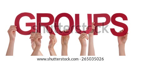 Many Caucasian People And Hands Holding Red Straight Letters Or Characters Building The Isolated English Word Groups On White Background - stock photo