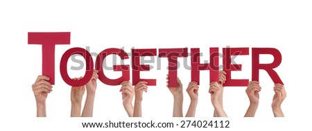 Many Caucasian People And Hands Holding Red Straight Letters Or Characters Building The Isolated English Word Together On White Background - stock photo